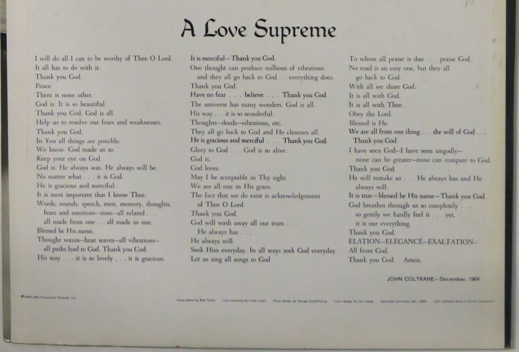 A Love Supreme Record Jacket